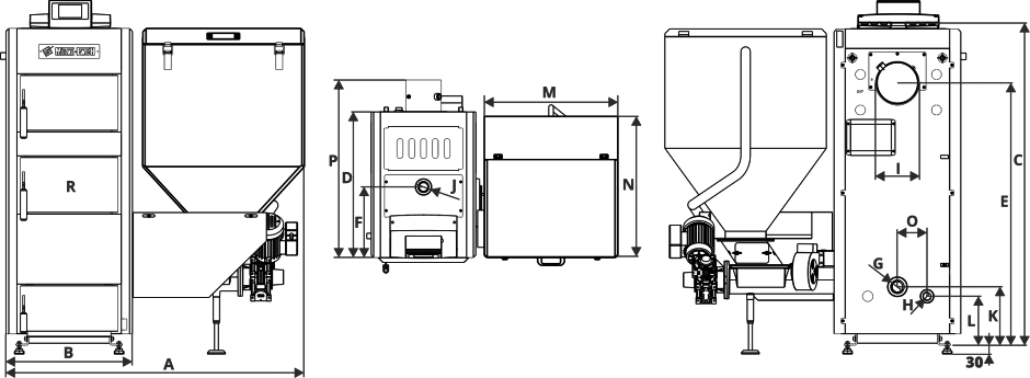 Размеры Котел Metal-Fach SEG 150 кВт с правой подачей