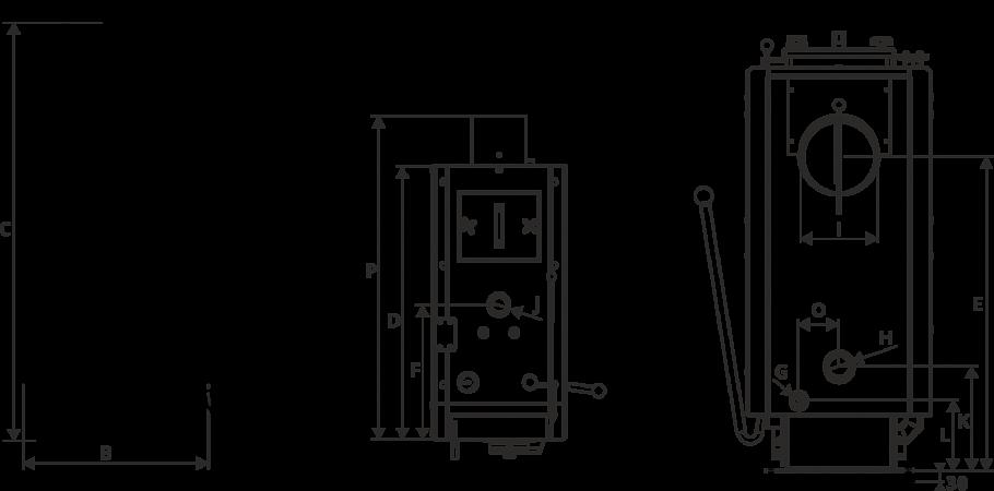 Размеры Комплект полуавтоматического котла Metal-Fach SMART OPTIMA 50 кВт (SDG 38)