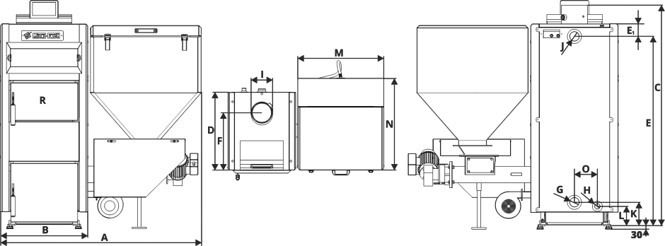 Размеры Котел Metal-Fach SMART Auto BIO 30 кВт с левой подачей